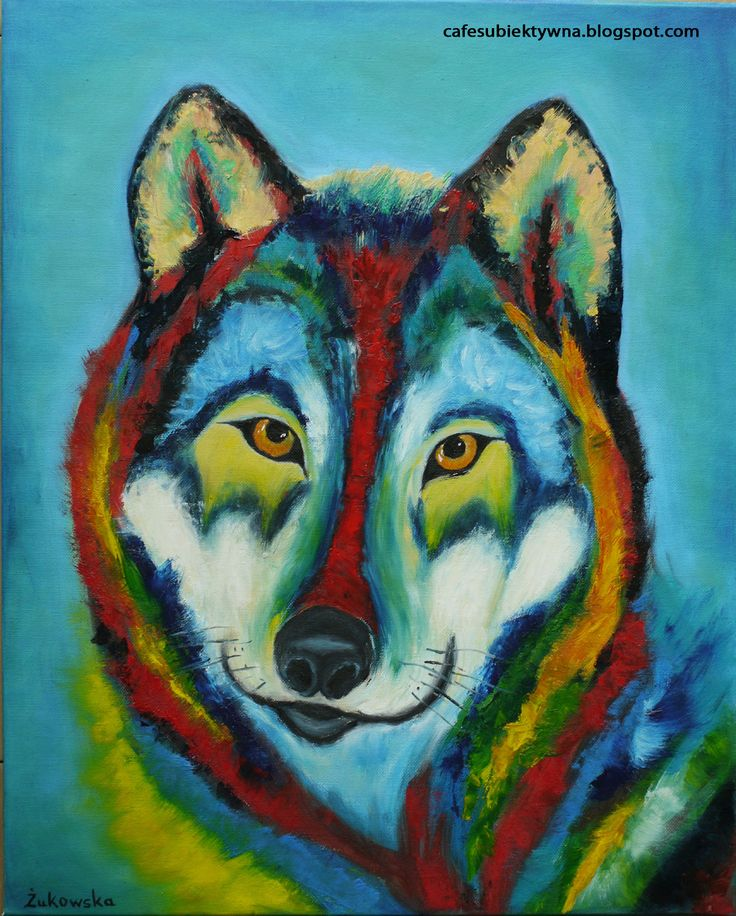 Colorful wolf. Oil painting by Żukowska