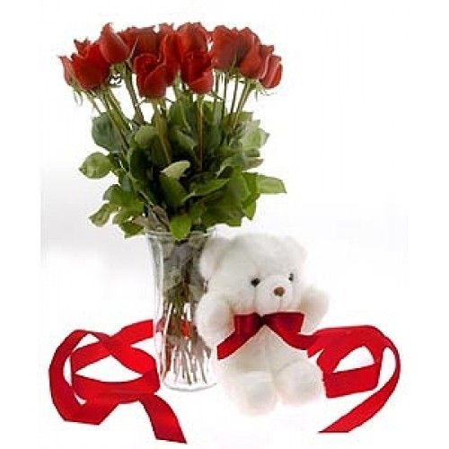 """Valentine 3     Our exquisite & fresh 12 long stem Red Rose bunch is decorated with greenery with a 6"""" cute teddy for express your love this valentine...  hurry!! to grab this wonderful gifts.. Limited stock available for this valentine.....  www.goenkaflorist.com"""