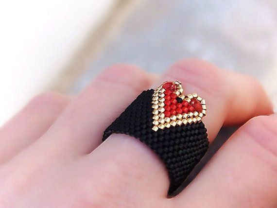 Heart Band Ring Beaded Black Red Gold Valentines day by Vikulya, $25.00