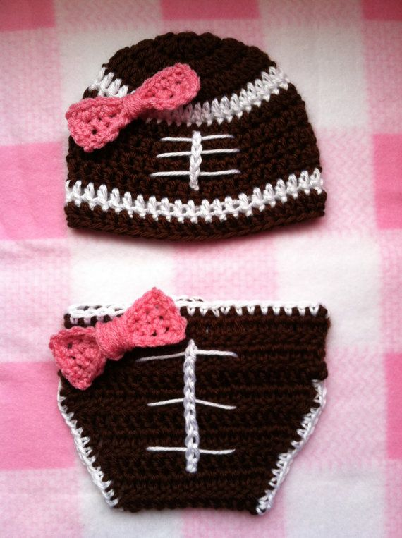 Baby Girl Football Crochet Hat And Diaper Cover