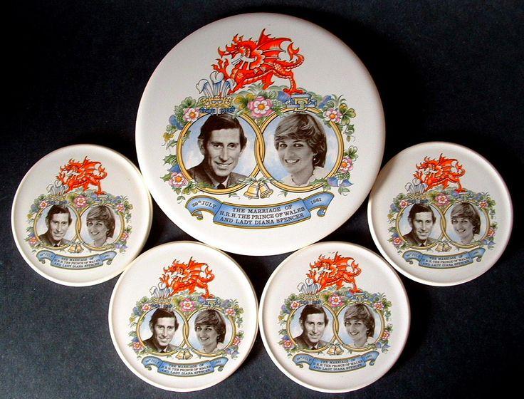 Royal Wedding Princess Diana Charles Tea Tile And Coasters 1981 Photos In Box