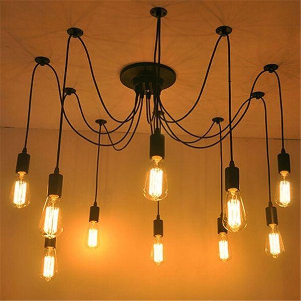 Fuloon Retro Industrial Vintage Edison Multiple Ajustable DIY Ceiling Fixtures Spider Lamp Pendant Lighting Chandelier Modern Chic For Indoor Foyer Dining