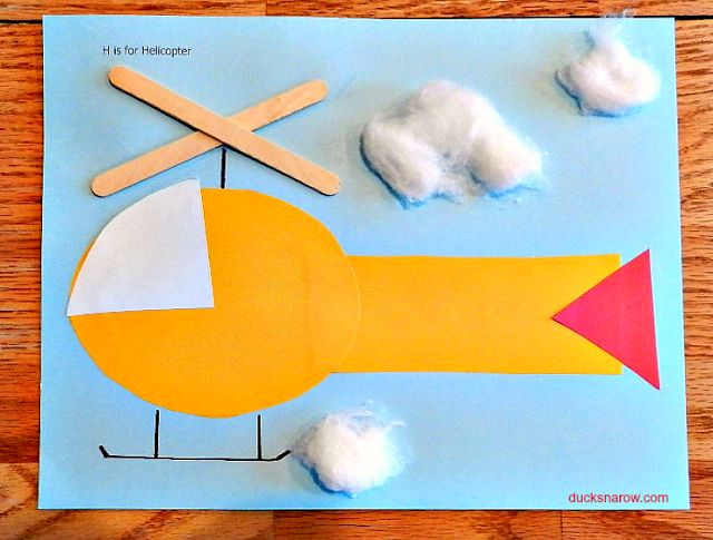 Fun preschool craft: H is for Helicopter. Finally something to do with those leftover popsicle sticks! #preschool www.ducksnarow.com
