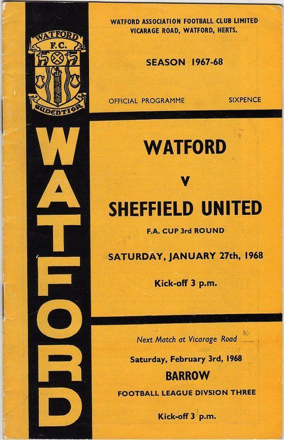 Vintage Football (soccer) Programme - Watford v Sheffield United, FA Cup, 1967/68 season #football #soccer #watford