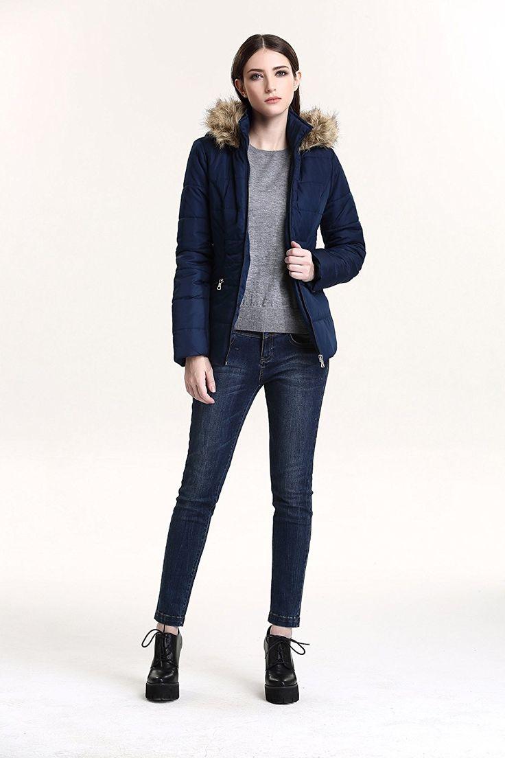 JollyChic Women's Faux Fur Hooded Light Weight Winter Short Down Jacket (4, Navy) at Women's Coats Shop