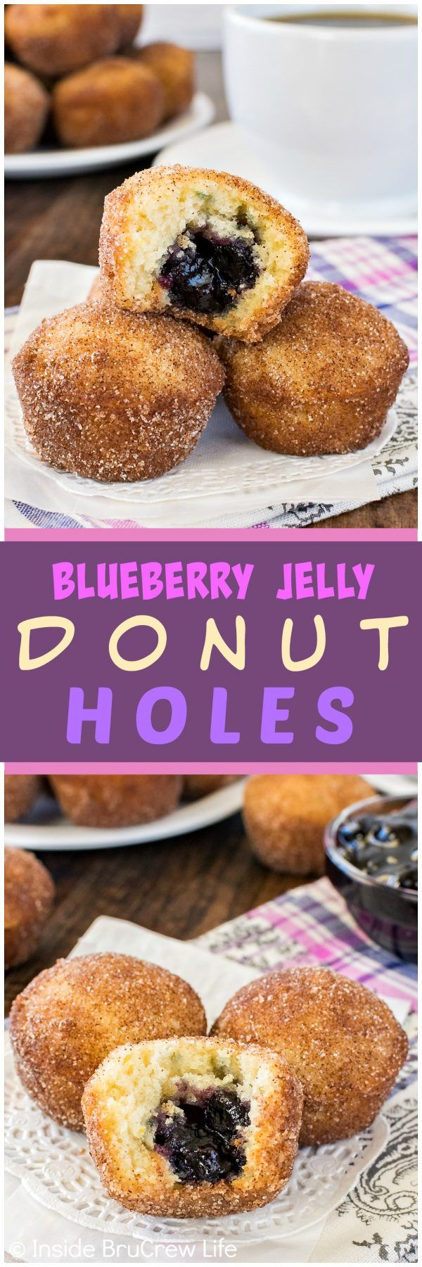 Blueberry Jelly Donut Holes - these little homemade donut holes have a sweet jelly filling and a cinnamon sugar crunch!  Great breakfast or snack recipe for any day!