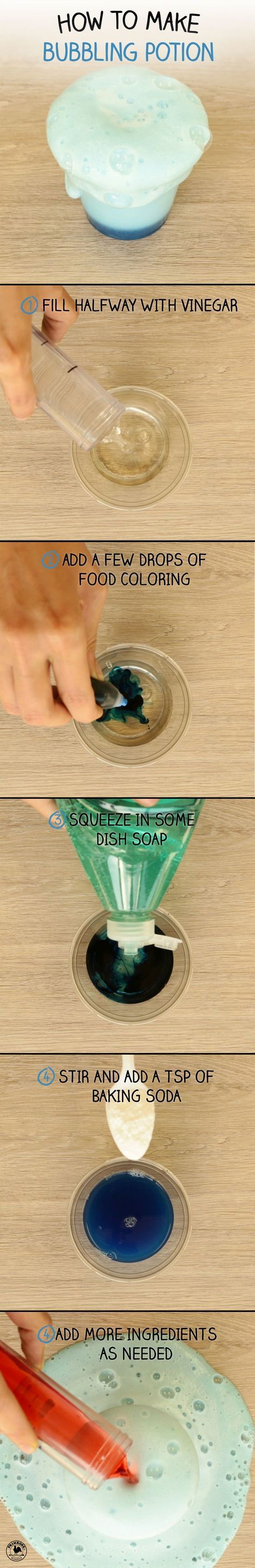Your child will bubble over with excitement when they mix this super fun DIY science potion!