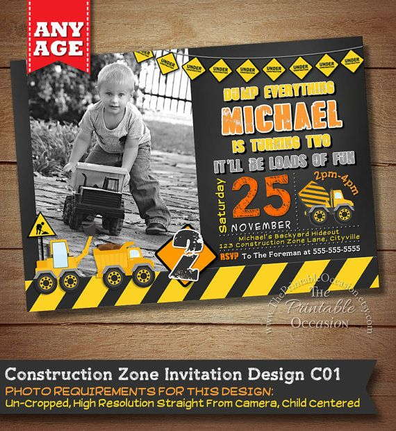 Construction Birthday Invitation por ThePrintableOccasion en Etsy