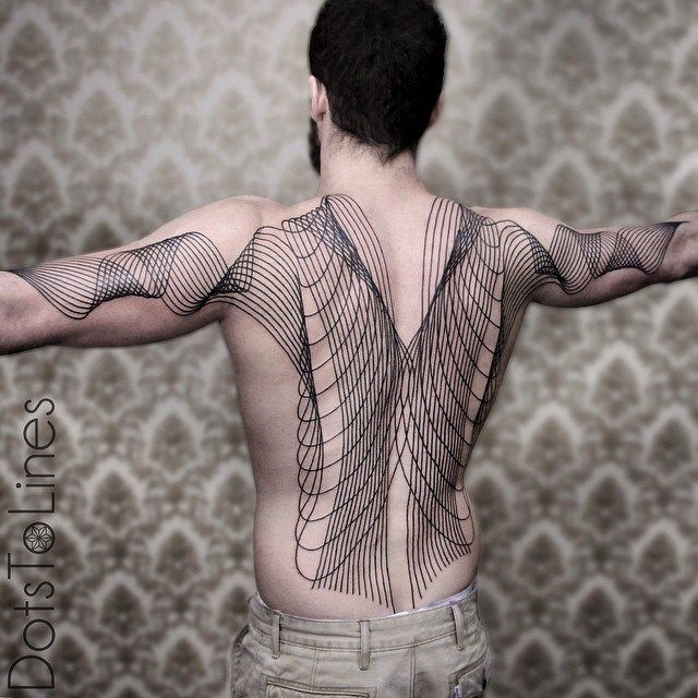 Back and Arms Wave Lines Blackwork tattoo by Dots To Lines