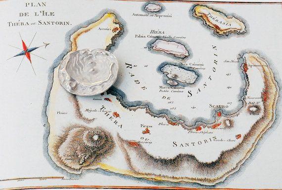 Santorini Map Necklace, Men/Woman Sterling Silver Pendant on Sterling Silver Omega Chain, 19th Century Santorini Greek Map