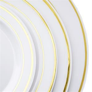"""10 Pack - White with Gold 10.25"""" Round Disposable Plate - Tres Chic Collection 