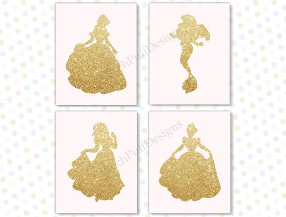 Disney princess wall art 8x10 Set of 4 INSTANT by PeachPuffDesigns