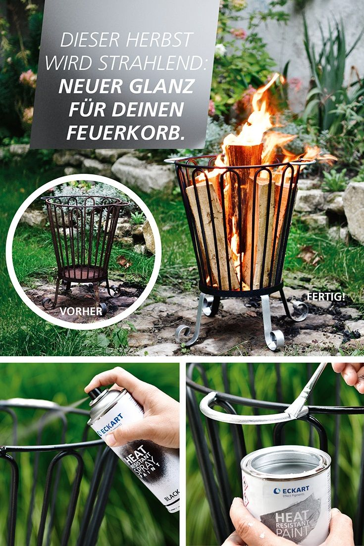 Dieser Herbst wird strahlend: Neuer Glanz für deinen Feuerkorb mit ECKART Produkten.  This autumn will be shiny: New look for your fire basket with ECKART products. #eckarteffectpigments;#thermolack#silver#gold#protectivepaint##feuerkorb;#heatresistant#hitzebeständig