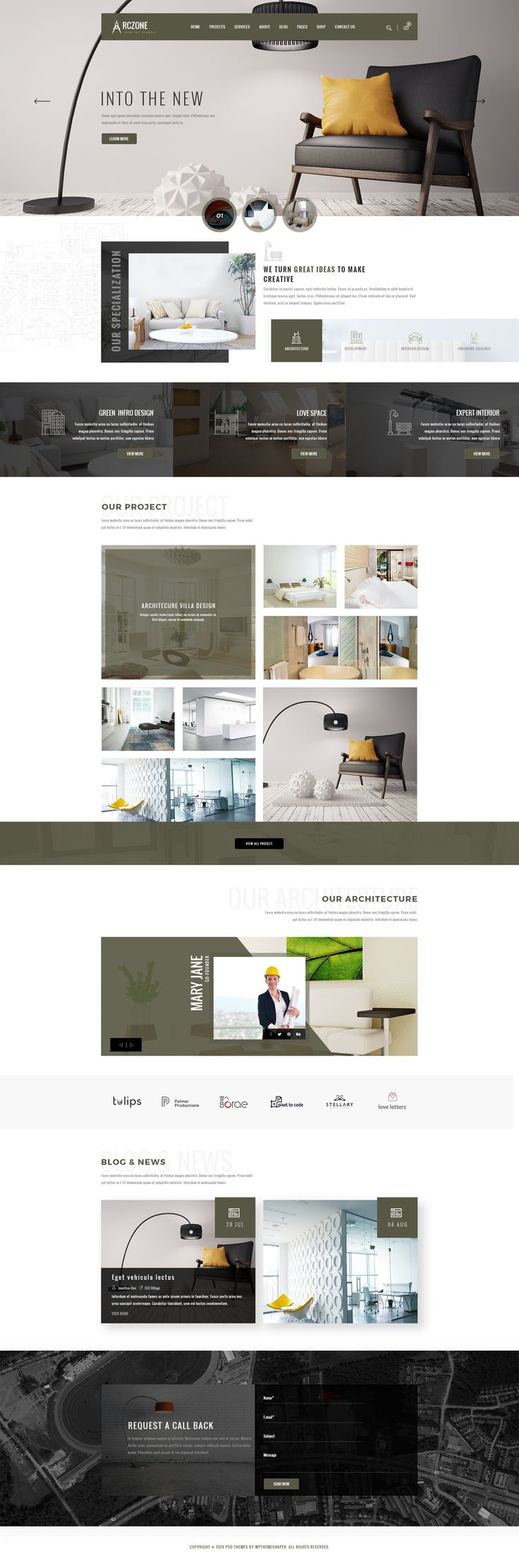 ARCZONE- Interior Design, Decor, Architecture Business Template. by wpthemeshaper