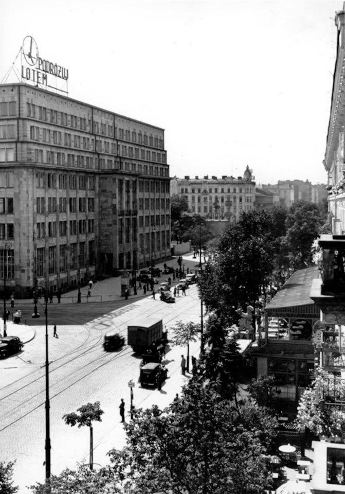 Skrzyżowanie Alej i Nowego Światu. Fot. sprzed 1939 r.