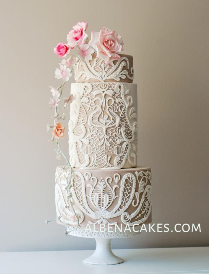 "cakedecoratingtopcakes: ""Lace Cake by Albena …See the cake: http://cakesdecor.com/cakes/236101-lace-cake """