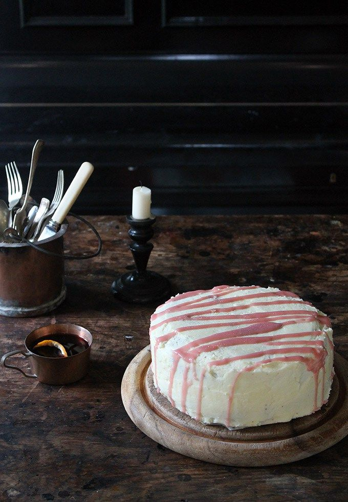 Winter Spiced Parsnip Cake with Mulled Wine Drizzle | Veggie Desserts Blog This winter-spiced parsnip cake is moist, earthy and quite similar to carrot cake. It is enrobed in a rich vanilla buttercream and then striped with a spiced, boozy, mulled wine drizzle to make it taste of Christmas.