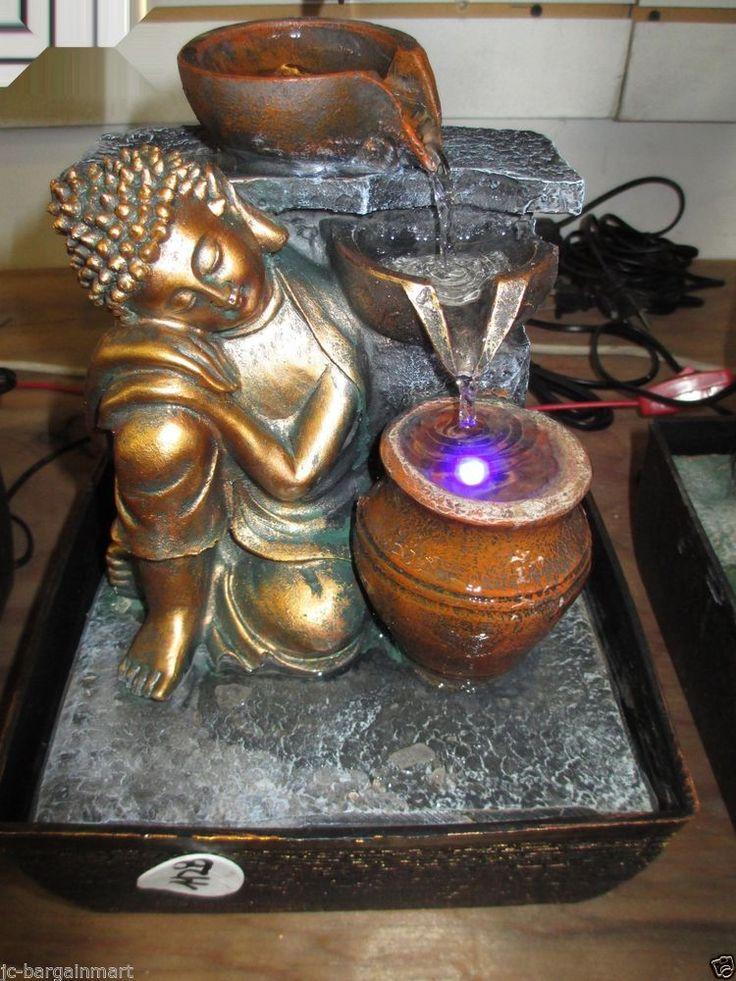 Buddha Indoor Tabletop Water Fountain Feng Shui Resin