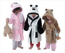 KIDS GIRLS BOYS HOODED BATH ROBE DRESSING GOWN HOUSECOAT TEDDY PANDA BUNNY 1-6YR