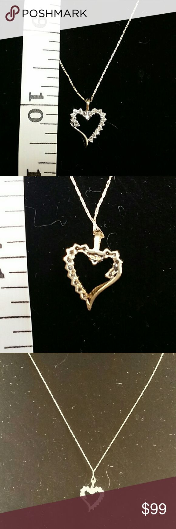Solid 10k diamond heart pendant Awesome diamond heart pendant set in solid 10k gold! Nice size bale to accommodate your chain. Chain here is not included. May have a chain also listed.  Genuine clear diamonds, inclusions under magnification.  Offers are welcome! Sorry, no trades. Downsizing personal collection.   Approximately .9 grams Stamped 10k Jewelry Necklaces