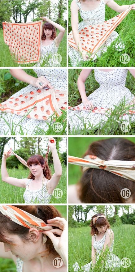 Tie a scarf into a turban-headband! strawberry-koi