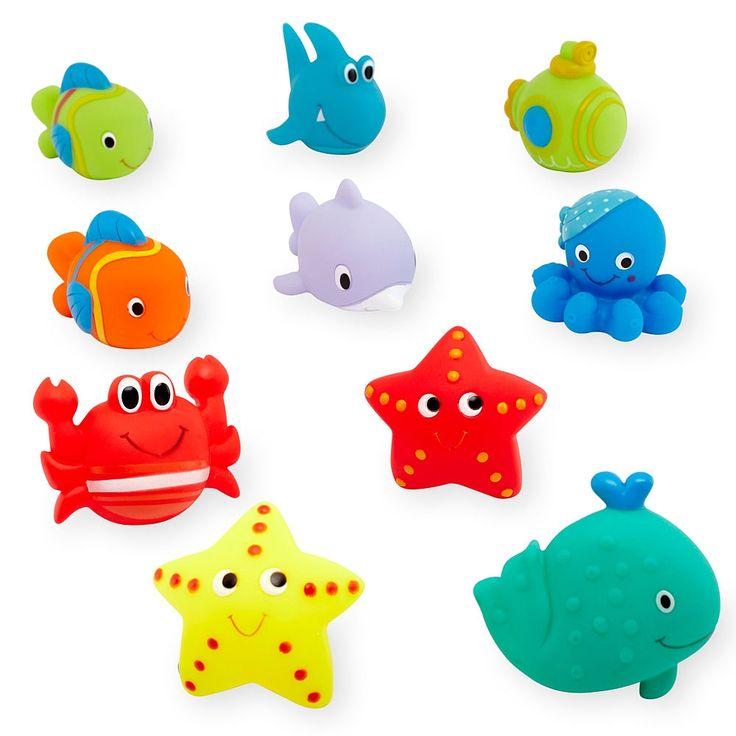 Inventez vos propres histoires avec cet adorable ensemble de jouets arroseurs de thème de la mer.  Les jolies créatures marines sont douces et faciles à saisir pour un bébé.  Ensemble de dix jouets arroseurs pour le bain. Ils sont faciles à saisir pour les petites mains. <br><br>Prendre un bain, ce nest pas seulement une question dêtre propre  faites de lheure du bain une expérience amusante à laquelle votre tout-petit aura hâte grâce à des bestioles flottantes, des poissons qui font des…