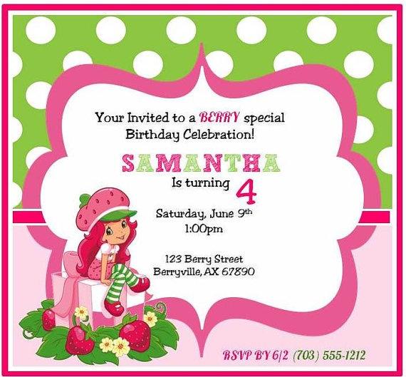strawberry birthday invitation - 674×631