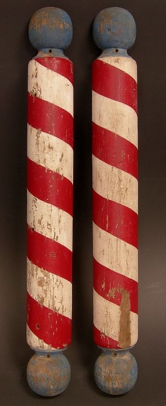 Pair Of Painted Wooden Barber Poles In Their Original First Paint These Bulbous Turned