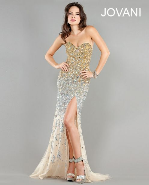 Long Strapless Gold Prom Dresses