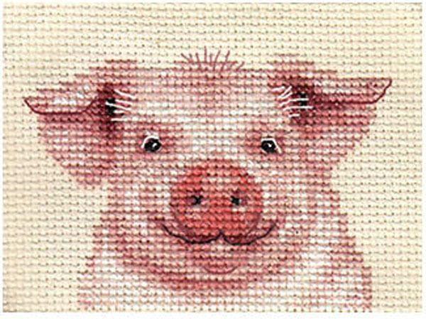 PINK PIG, Farmyard ~ Full counted cross stitch kit, all materials