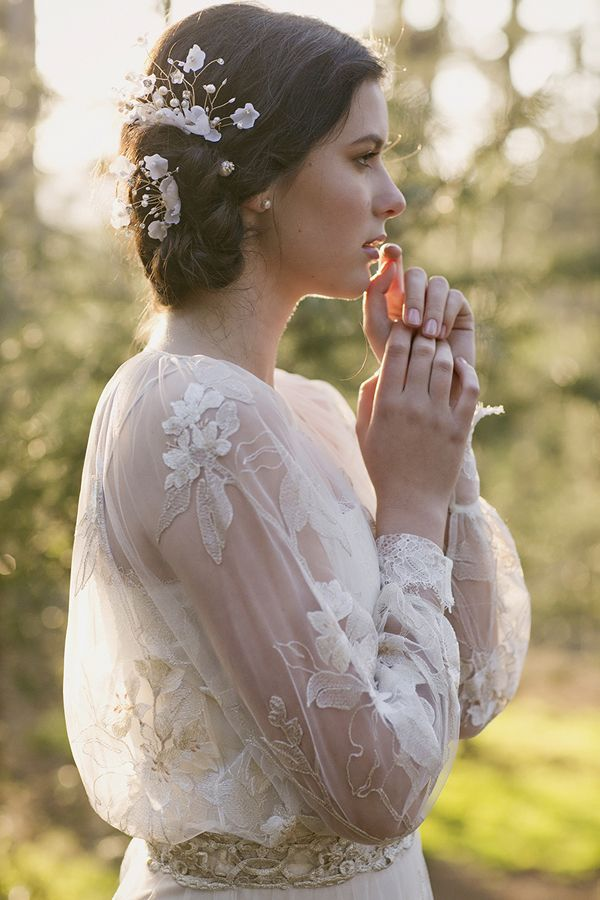 Claire Pettibone 'Peace' wedding gown | See Peace here -- http://www.clairepettibone.com/bridal/?cp=gowns/peace | Styling  Bridal Headpiece: Erica Elizabeth Designs | | Photo: Stephanie Williams via Green Wedding Shoes / Jen Campbell