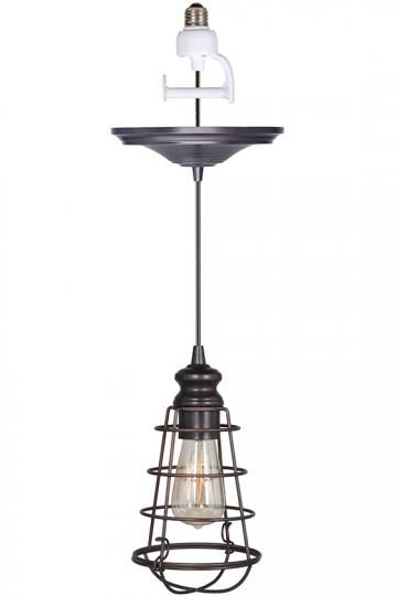 Pendant light with a recessed light conversion kit.