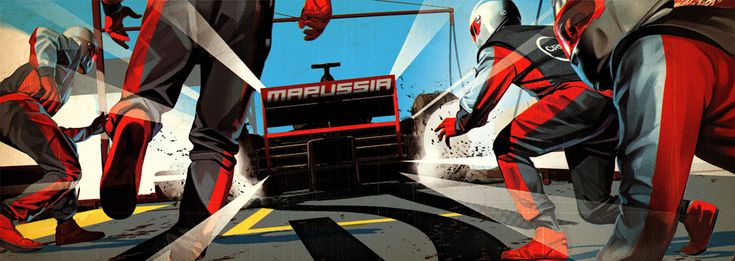 another illustration for Virgin's F1 graphics job run by Poke London  illustrated by - http://www.taviscoburn.com