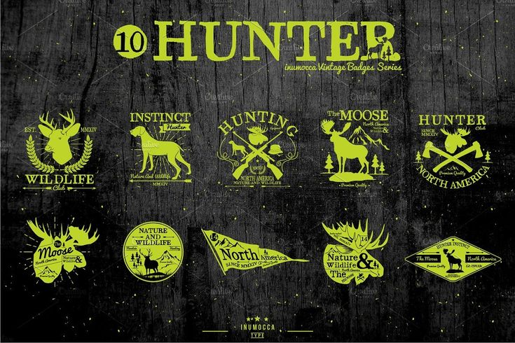 Hunter Vintage badge (EDITABLE TEXT) by inumoccatype on @creativemarket