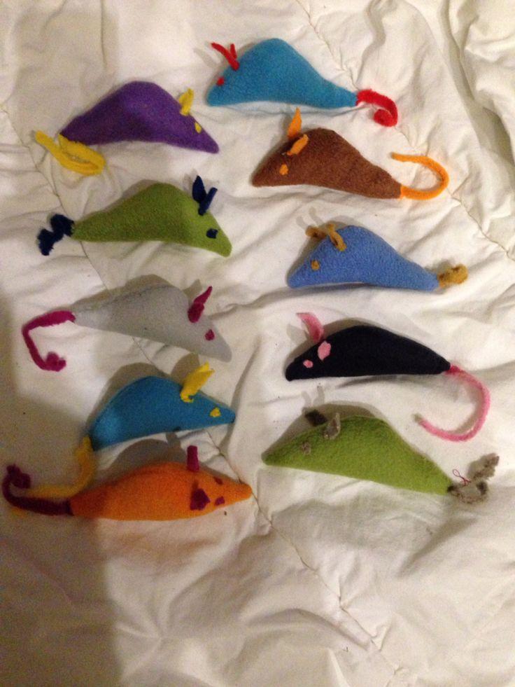 Fleece muisjes gevuld met kattenkruid