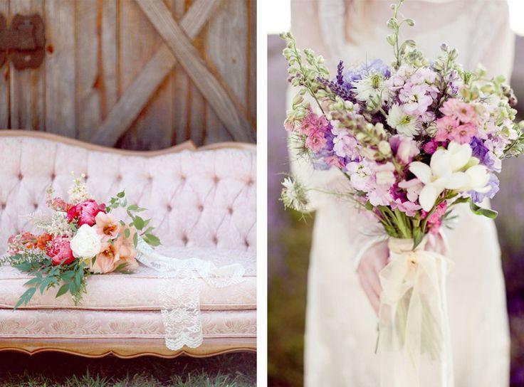 Veldboeket pink blush wedding inspiration