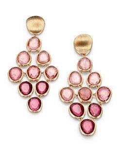 Marco Bicego - Lunaria Unico Pink Tourmaline & 18K Yellow Gold Drop Earrings