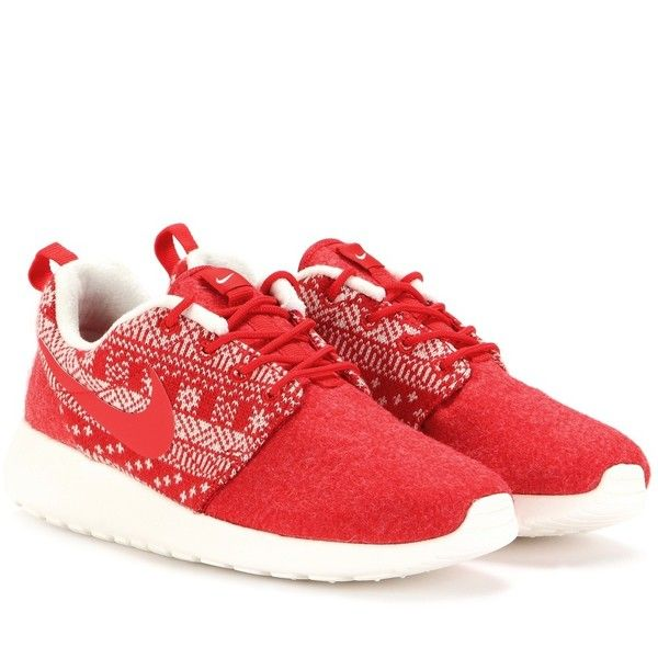 Nike Nike Roshe One Winter Sneakers ($105) ❤ liked on Polyvore featuring shoes, sneakers, red, red shoes, red sneakers, nike, nike trainers and nike footwear