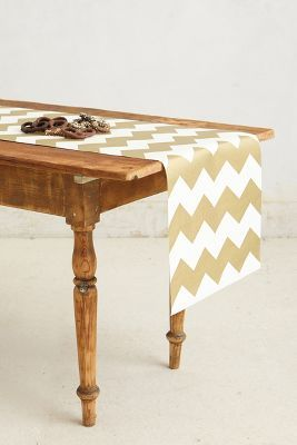 Gilt chevron paper table runner #anthrofave http://rstyle.me/~15nkf