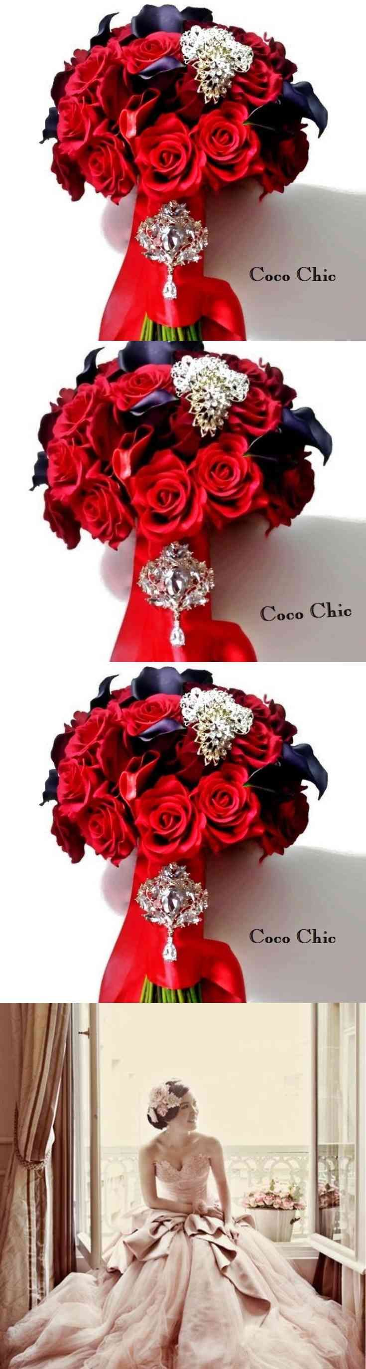Red Roses Bridal Bouquet, Coco Chic Wedding Bouquet (via pushapin.com)