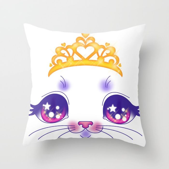 Princess Kitty Throw Pillow💕💕 pillows  Cute and kawaii designs on pillows  for teens, girls and kids. Find decorative pillows for bedroom, with sayings or beautiful designs. #design #decor #society6 #cute #kawaii #pillow #pillows #sboar #lovely #interior #home #bedroom #bedroomdecor #animals #pets #wild #flower #floorpillow #floor #mermaid