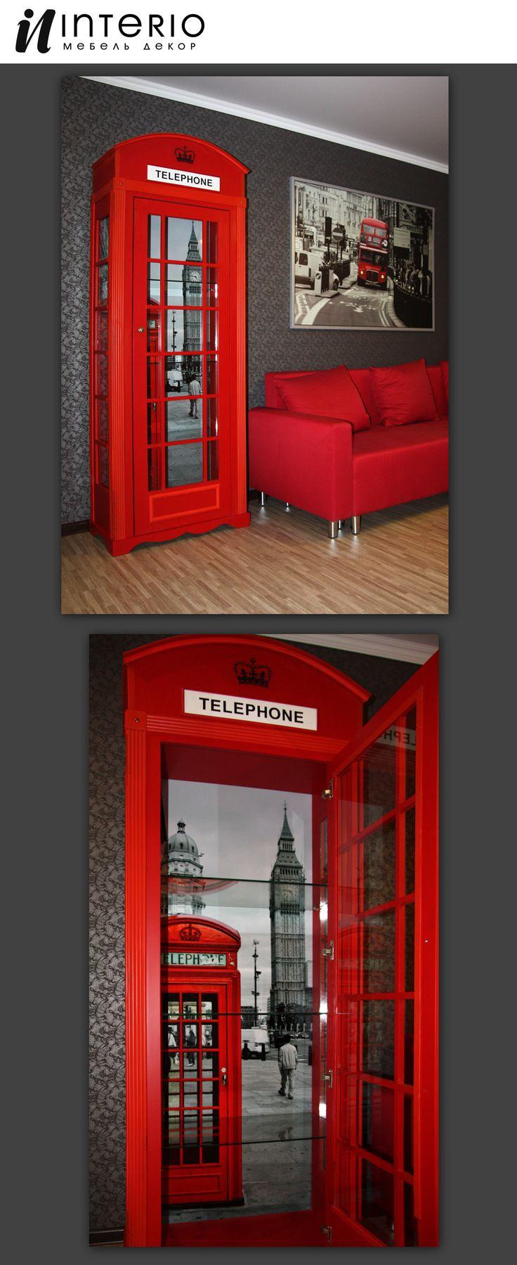 Шкаф-бар в виде телефонной будки