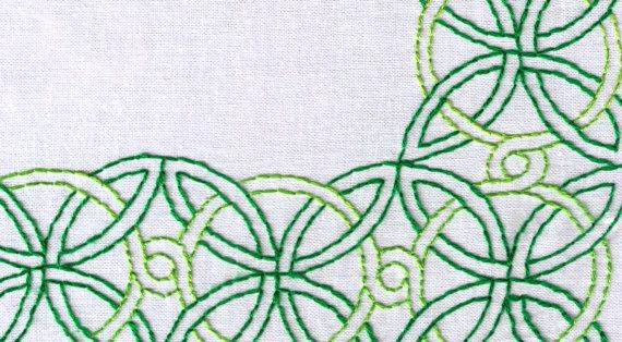 Celtic knot hand embroidery pattern large corner border