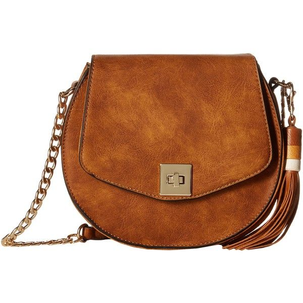 Gabriella Rocha Crossbody Purse with Tassel (Brown) Cross Body... ($28) ❤ liked on Polyvore featuring bags, handbags, shoulder bags, brown, crossbody shoulder bags, shoulder handbags, handbags crossbody, shoulder strap handbags and brown shoulder bag