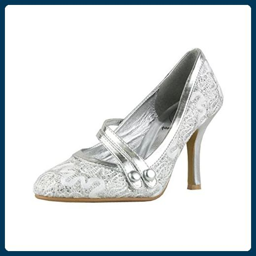 Silver glitter high heel mary jane shoes with double bar strap - Damen pumps (*Partner-Link)