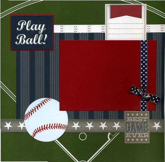 baseball scrapbook layouts | Sports Scrapbooking Premade Baseball Scrapbook Page Play Ball by ...