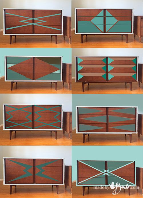 MCM Dresser Graphic Paint Makeover   Made By Barb   Update Refinish Mid  Century Modern Furniture Graphic Designs