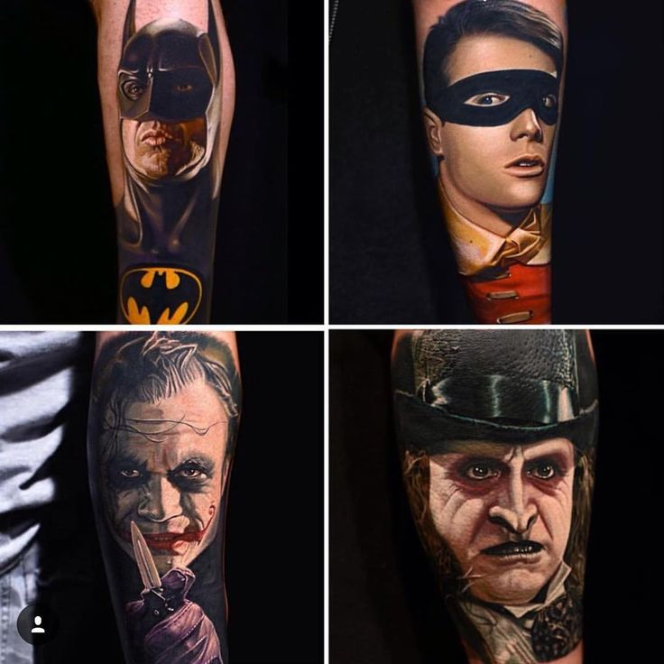 Nikko Hurtado heroes and villains portrait tattoos