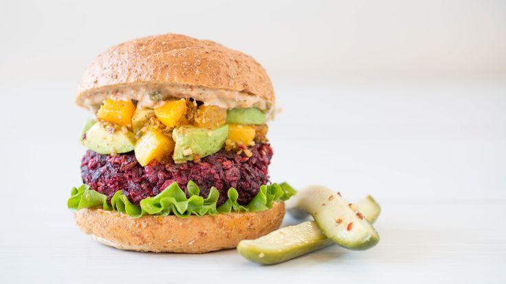 Beet Burger with Avocado Peach Salsa