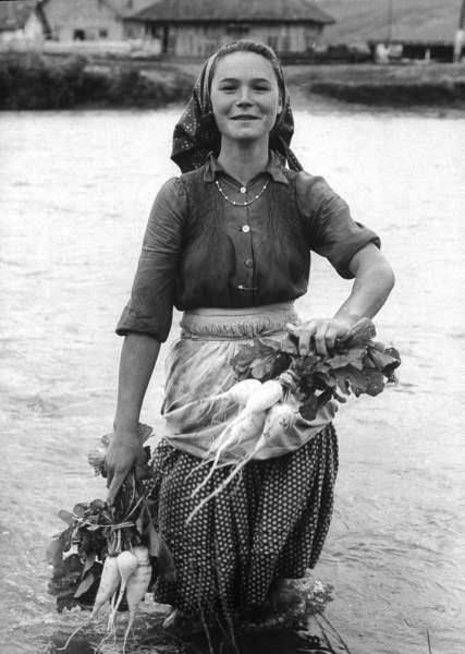 """salahmah: """" A young gypsy woman washing turnips in the Mures river, Romania -1963 """""""